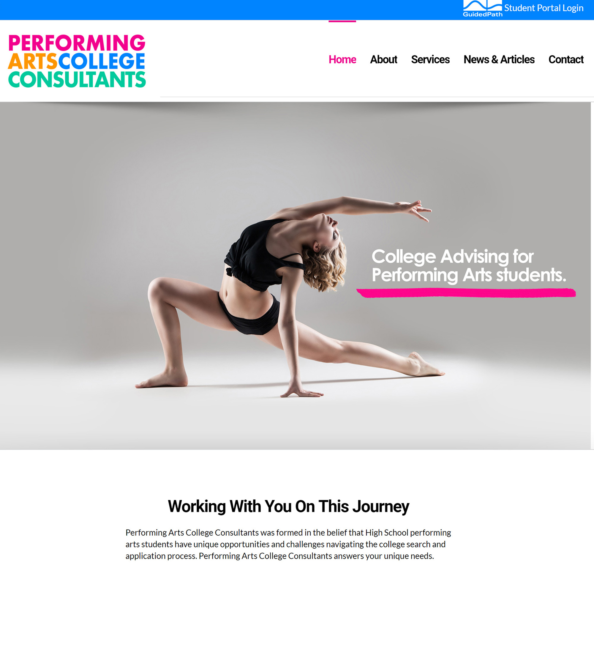 Performing Arts College Consultants website picture. www.performingsartscollegeconsult.com