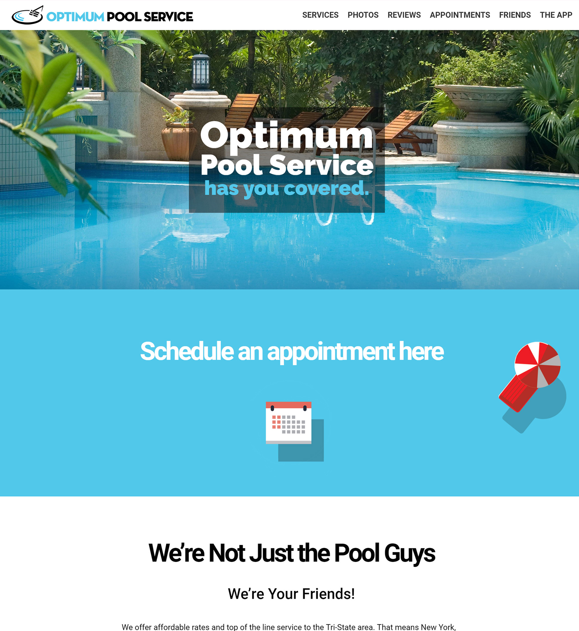 Optimum Pool Service website picture. www.optimumpoolservice.mobi